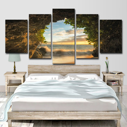 $enCountryForm.capitalKeyWord Australia - Modern Canvas Painting HD Printed Wall Art Pictures 5 Pieces Cave Beach Sea Wave Sunrise Landscape Poster Room Home Decor