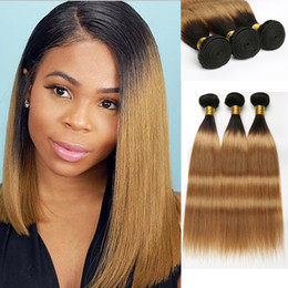 34 inches hair Australia - 1B 27 Honey Blonde Ombre Human Hair Bundles Peruvian Straight Hair Bundles 3 Bundle Deals 10 A Grade Remy Hair Extension Beyo