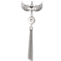 $enCountryForm.capitalKeyWord Australia - New Wings Jewelry Necklace Vintage Tassel Necklace Love Heart 18mm Snap Button Pendant Necklace Women Snap Necklaces