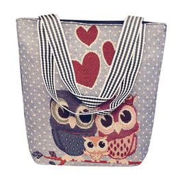 f07e7bf1803 Cream Feather UK - Cheap Canvas Bag Women's Cartoon Owl Handbag Colorful  Qualited Shopping Shoulder Bag