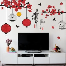 Festival Glasses Australia - chinese new year wall stickers window glass TV background decoration festival tree bird lantern wall decals store mural