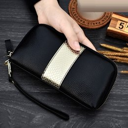 women cell phone clutch NZ - Ladies Genuine Leather Clutch Wallets Snake Panelled Long Women Purse Zipper Wrist Bag Female Coin Purse Mobile Phone Bag