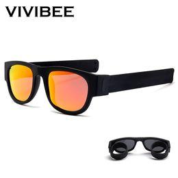 Product Mixes NZ - VIVIBEE Novelty Mirror Men Polarized Folding Sunglasses New Arrival Slap Sport Foldable Wristband Shades 2019 Trend Product