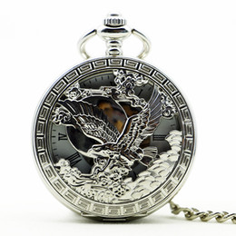 cool silver watches NZ - Antique Silver Eagle Mechanical Hand Winding Pocket Watch Cool Analog Necklace Chain Men Women PJX1180