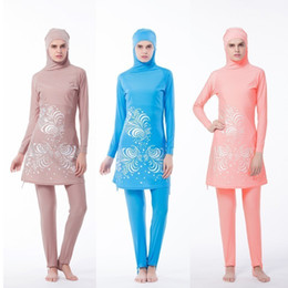 $enCountryForm.capitalKeyWord Australia - Floral Print Muslim Women Pink Swimwear Modest Swimsuit Muslimah Islamic Plus Size Bathing Suit Swim Surf Wear Sport Beach Dress