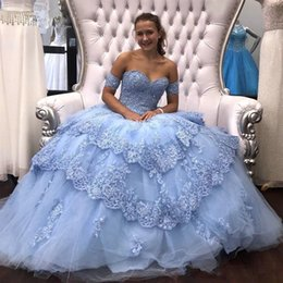 7ef2794fb4a 2019 New Sexy Sky Blue Red Puffy Quinceanera Dresses Sweetheart Lace Appliques  Beaded Sweet 16 Open Back Plus Size Prom Evening Gowns Wear