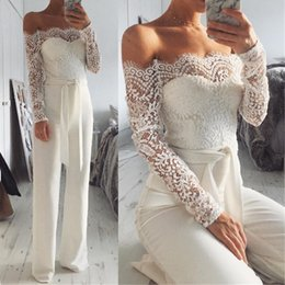 $enCountryForm.capitalKeyWord NZ - Lace Long Sleeve Off Shoulder Jumpsuit Evening Dresses 2019 Backless Open Back Special Occasion Dress Girls Formal Prom Dress Gowns 2019