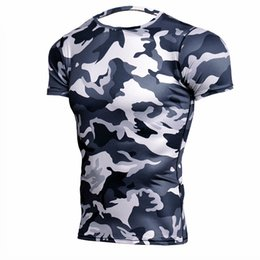 mma compression shorts 2019 - Camouflage Short Sleeve T-shirt Mens Running Compression Sport Shirt Men Dry Fit Breathable Rashgard Man Gym Fitness Tig