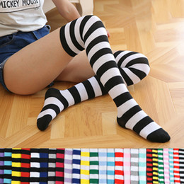 c3c881951 New Women Girls Over Knee Long Stripe Printed Thigh High Striped Patterned Socks  Colors Sweet Cute Warm Wholesale Lot