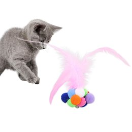 interactive bell UK - Cat Scratching Feather Toys Cats Toy Roll Ball Bell Sound Colorful Balls Toy For Kitten Interactive Pet Funny Training Dog Craft