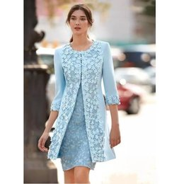 $enCountryForm.capitalKeyWord Australia - 2019 Light Blue Mother Of The Bride Suits Dresses With Jacket Sheath Knee Length Wedding Guest Dress Arabic Short Dress Evening Wear CR