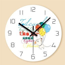 Balloon Cartoon Design Australia - Cartoon Balloon Decorative Wall Clocks Round Digital Clock for Kids Room Mute Quartz PVC Hanging Clock Modern Design Home Decor