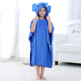 gauze towels NZ - Boy Girl Bath Towel Cloak Cotton Children Gauze Cartoon Robe Bath Towel Hooded Soft Cartoon Beach Cloak JY-021