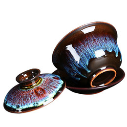 Black Chinese Porcelain UK - Peacock gaiwan porcelain tureen Chinese cup bowl lid ceramic cup saucer fast shipment