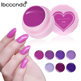 blue painted nails Canada - New 6ml Gel Nail Polish UV Painting Nail Art Design Lacquer UV LED Primer Semi Varnish Gel for Nails Stamping Purple Series Glue