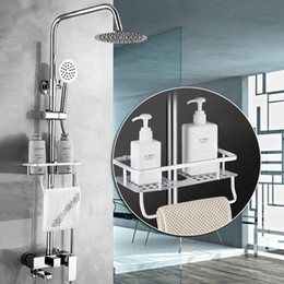 Wholesale Bathroom Shower Set with Basket Shelf Wall Mounted quot Rainfall Chrome Bath Shower Mixer Faucet Rotate Spout Commodity Shelf