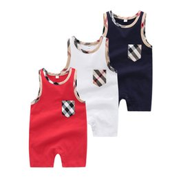 Sleeping Jumpsuits Australia - Summer Kids Sleeveless Vest Sleeping Rompers Fashion Lattice Printed T-Shirts Rompers For Baby Newborn Jumpsuits Size 0-24 Monthes