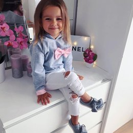 Cute Outfits For Spring Australia - Spring Autumn Clothes For Girls Sets Two Pieces Outfits Children's Clothing Hooded Long Sleeve T-shirt + White Denim Pants Girls Sets
