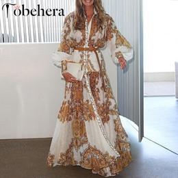 Glamaker Blanc Paisley Imprimer Femmes Élégantes Robe Été Boho Maxi Plage Robe De Vacances 2019 Split Longue Robe Décontractée Festa Y190514 en Solde