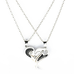 $enCountryForm.capitalKeyWord Australia - Hot Selling Fashion I Love You Pendant Necklaces For Couple Lover Broken Heart Puzzle Crystal Choker Trendy Jewelry