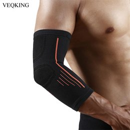 elastic elbow brace Australia - 1 Piece Elastic Elbow Pads Basketball Tennis Elbow Support Protector Gear Breathable Elbow Brace Sports Safety Accessories
