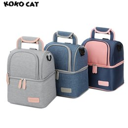 pink lunch cooler Canada - Designer-Fashion Women Thermal Dinner Box Lunch Bags Cooler Picnic Pouch for Kids Milk Case Double Layer Portable Boxs Bolsa Termica
