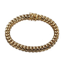 cuban links chain set Australia - New Fashion Gold Color Handsome Men Stainless Steel Miami Curb Link Chain 7-11 Inches Option Cuban Chain Bracelet Jewelry 8mm