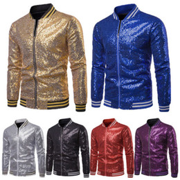 Men Shiny Blazers Gold Sequin Glitter Suit Jackets Male Nightclub One  Button Suit Blazer DJ Stage Blazers a5d91c8912ca