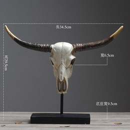$enCountryForm.capitalKeyWord Australia - European Retro Cow Skull Vintage Horn Home Decoration Accessories Modern for Living Room Dinosaur Party Antique Home Decor
