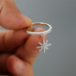 Ring thin band online shopping - Female Crystal Snowflake Dangle Rings For Women Silver Rose Gold Color Zircon Stacking Thin Ring Wedding Bands Jewelry Cz