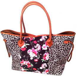 Canvas Tote Blanks Australia - Lilly Leopard Canvas Tote Wholesale Blanks  Leopard Floral Canvas String Purse c176aa700d68