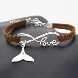 whale tail charms NZ - Casual Dark Brown Leather Suede Bracelet Infinity Love Sea Animal Whale Tail Fit Wristband Wrist Band Cuff Bracelets & Bangles For Women Men