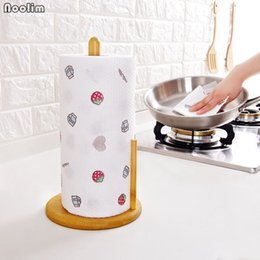 Paper Roll Dispensers Australia - NOOLIM Kitchen Counter Natural Bamboo Standing Paper Towel Holder Tissue Roll Paper Dispenser Rack Kitchen Storage