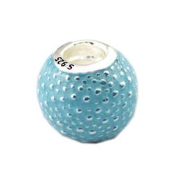 $enCountryForm.capitalKeyWord Australia - New Authentic 925 Sterling Silver Bead Blue Enamel Ball Charm Beads Fits Original Pandora Bracelets DIY Charms Jewelry Making