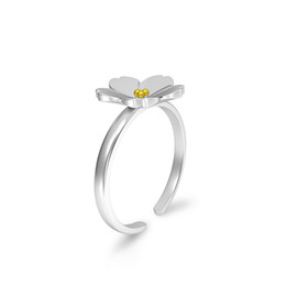 Discount simple elegant engagement rings - PANHOME 100% 925 Sterling Silver Simple And Elegant Daisy Flower Primrose Open Mouth Adjustable Ring Women's Jewelr