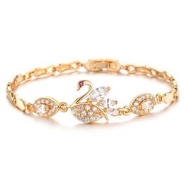 Gold Wholesalers China Australia - European and American fashion diamond 3A zircon plating 18K gold swan bracelet for women fashion luxury snap jewelry