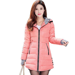 Womens Parkas Australia - 2019 Women Winter Hooded Warm Coat Plus Size Candy Color Cotton Padded Jacket Female Long Parka Womens Wadded Jaqueta Feminina