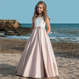 fancy ribbon bows Australia - Fancy Flower Girl Dresses For Weddings Vestidos daminha Kids Evening Pageant Gowns with Bow First Communion Dresses For Girls