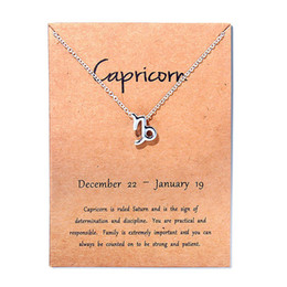 Libra jeweLry online shopping - 12 Constellation Silver Capricorn Taurus Libra Message Card Jewelry Pendant Necklace Necklaces For Women Birthday Gift
