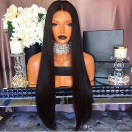 Discount long silky blonde hair High Quality Middle Part Black Brown Long Silky Straight Full Lace Wigs 150% Density Heat Resistant Glueless Lace Front