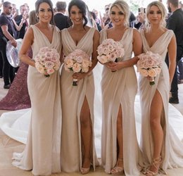 $enCountryForm.capitalKeyWord Australia - Attractive Sheath Long Bridesmaid Dresses With Deep V-Neck Pleated Bridesmaids Dress With Front Split Wedding Guest Dress 2019 Hot