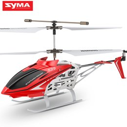 Toy Helicopters Metal NZ - SYMA Official S39 2.4GHz 3CH RC Helicopter with Gyro Led Flashing Aluminum Anti-Shock Remote Control Toy Kids Gift Red White