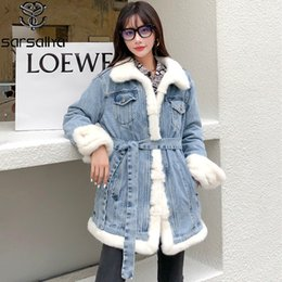Wholesale ladies mink jackets for sale - Group buy Women Winter Denim Jackets Mink Female Down Duck Coats Real Fur Ladies Parka With Sashes Warm Thick Overcoats New Arrival