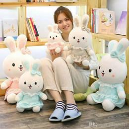 Wholesale Toy Monkeys Australia - Cute Plush Bunny Rabbit Stuffed Animal Pillow Soft Toys Floppy Sitting Cuddly Dolls Best Gifts Three Colors