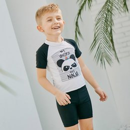 badea7abd6 2019 Swimming Suit Boys Short Sleeve Two-piece Suits for Kids Cartoon  Trunks Baby Swimwear Children Diving Suit Beach Wear