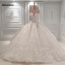 puffy real crystal wedding dress NZ - White Appliques Wedding Ball Gowns Custom Made Middle East Saudi Arabia Bridal Formal Maxi Gown Puffy Pleated Luxury Brides Gown