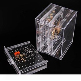 clear plastic display boxes wholesale NZ - Earring Stand 218 Holes Plastic Earring Display Stand Case Organizer Holder Jewelry Storage Box with 3 Vertical Drawer Clear