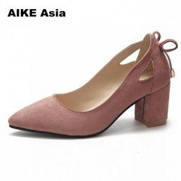 Designer Dress Shoes 2019 Women Pumps Thick Heel Female Pointed Toe High  Heels Bow Ladies Party Slip On Black Plus Size 35-44 84ab16e84b9e