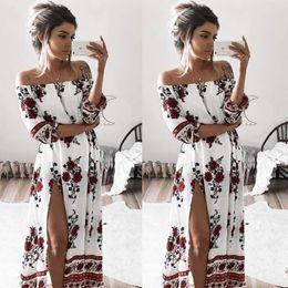 $enCountryForm.capitalKeyWord Australia - Beach Long Party Costume White Floral Dress Womens Maxi Boho Floral Summer
