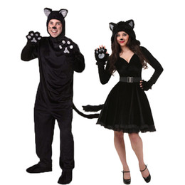 Female Costumes For Men Australia - Halloween Black Cat Cosplay Costumes For Adult Men Women Pajamas Animal Black Bear Jumpsuit Halloween Clothing Unisex Cat Suit